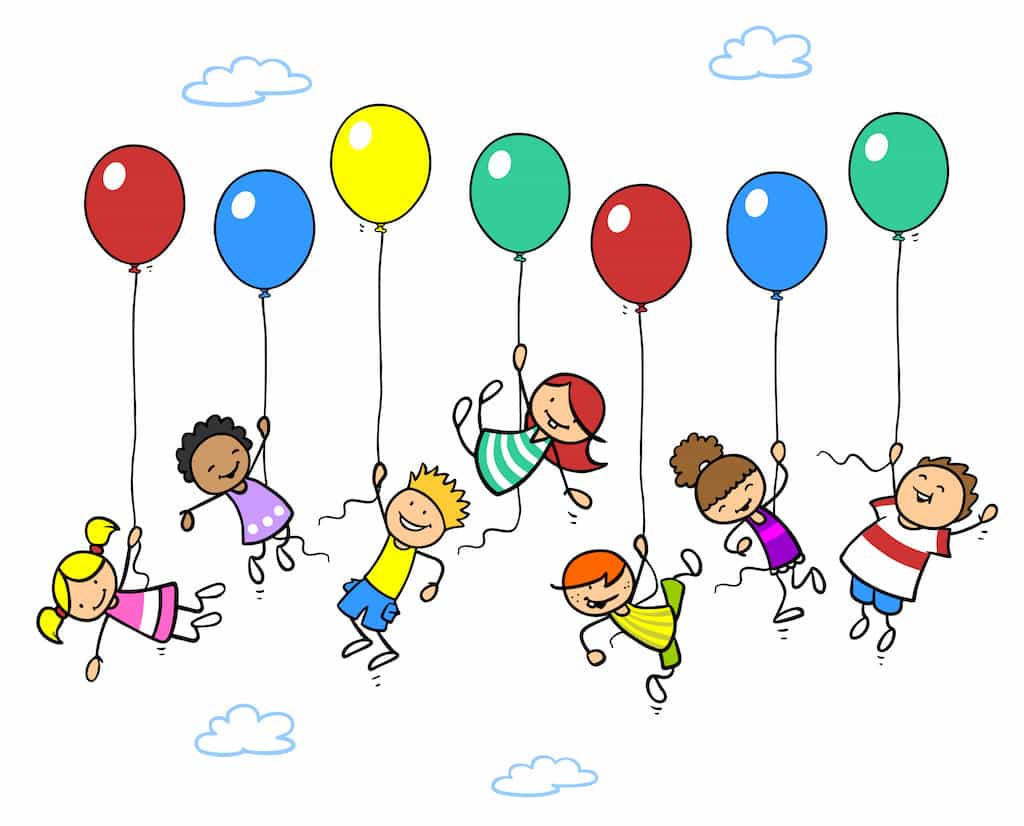 Viele glückliche Kinder fliegen mit Luftballons in den Himmel